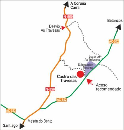 Acesos desde A Coruña, Santiago e Betanzos. / Access from A Coruña, Santiago and Betanzos
